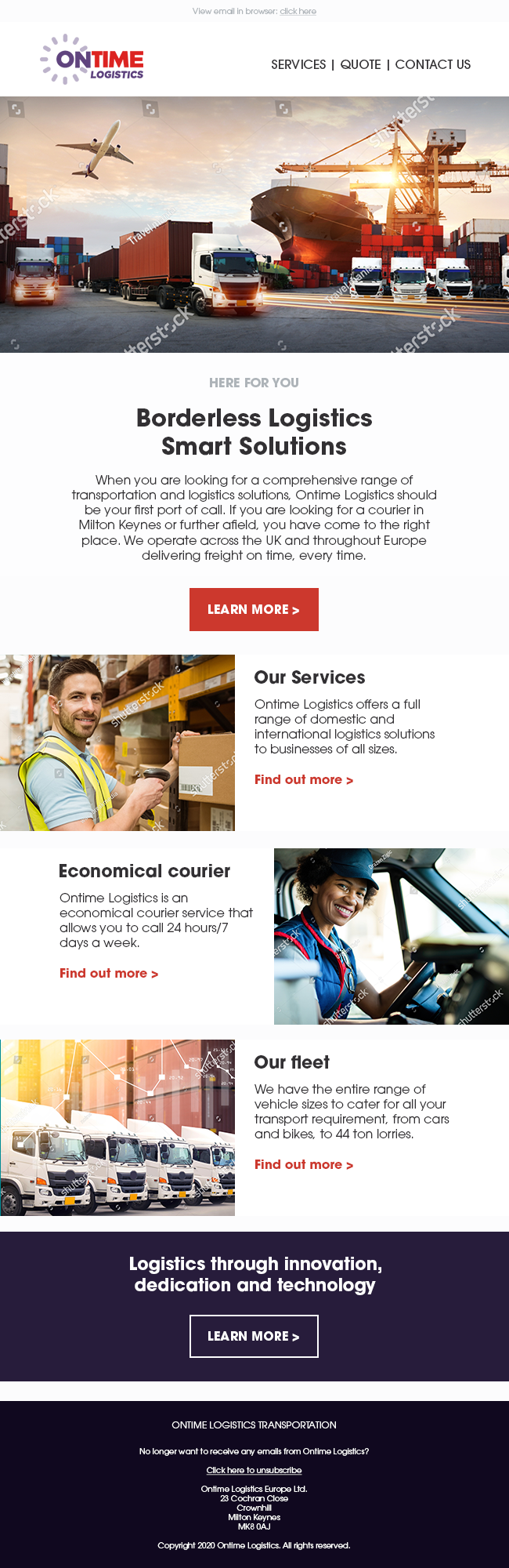 Ontime logistics HTML Template